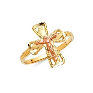 14K Yellow Gold Rose Gold Religious Cross Ring